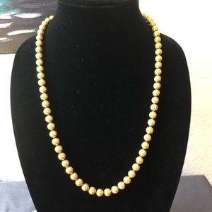 Crown Trifari Gold Bead Necklace